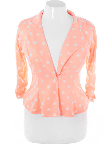 Plus Size Adorable Polka Dot Peach Blazer