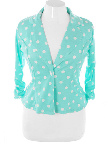 Plus Size Adorable Polka Dot Teal Blazer