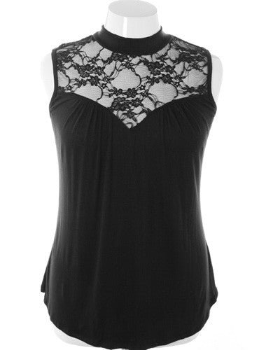 Plus Size See Through Lace Sleeveless Black Blouse