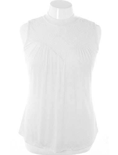 Plus Size See Through Lace Sleeveless White Blouse