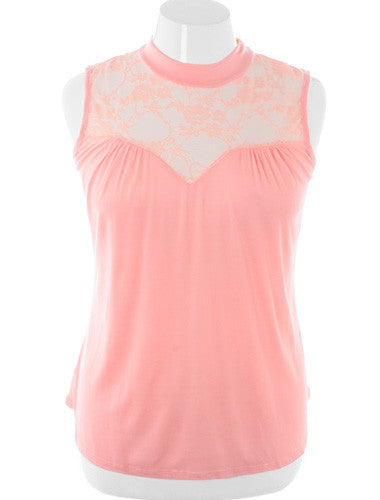 Plus Size See Through Lace Sleeveless Pink Blouse