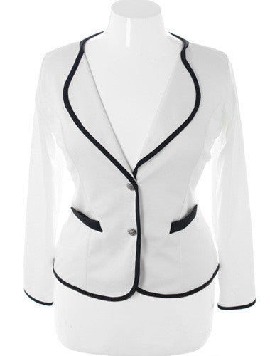Plus Size City Girl Blazer White Jacket