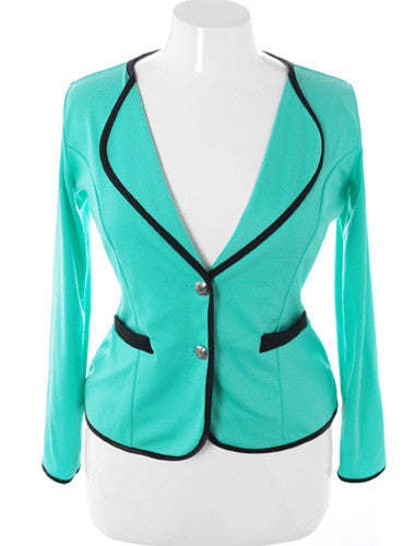 Plus Size City Girl Blazer Mint Jacket