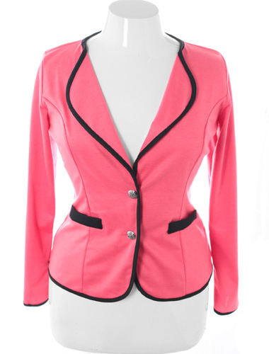 Plus Size City Girl Blazer Pink Jacket