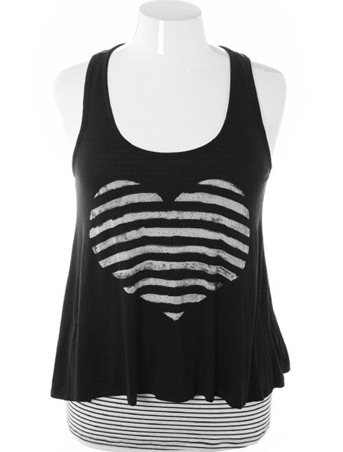 Plus Size Trendy Layered Striped Heart Tank Top