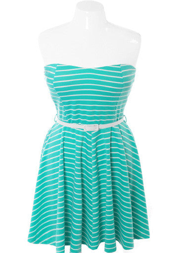 Plus Size Belted Stripe Tube Teal Dress