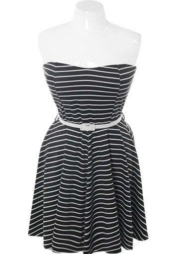 Plus Size Belted Stripe Tube Black Dress