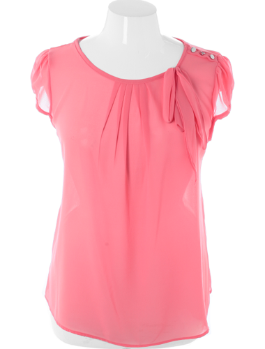 Plus Size Cap Sleeve Bow Sheer Pink Top