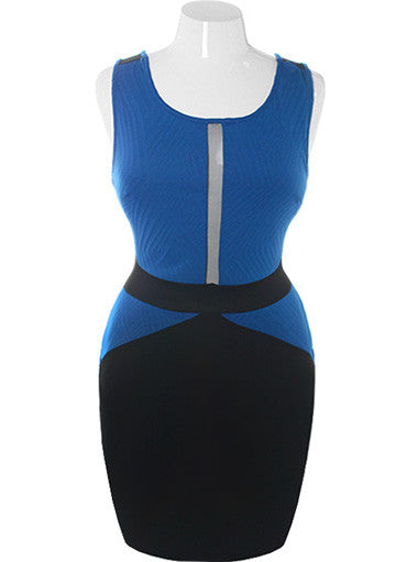Plus Size Bodycon Peep Through Blue Dress