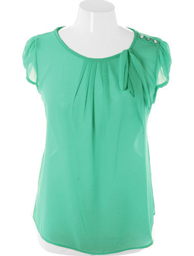 Plus Size Cap Sleeve Bow Sheer Mint Top