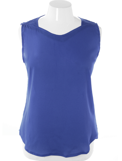 Plus Size Designer Sheer Sleeveless Blue Top
