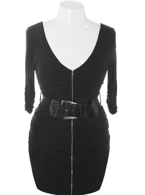 Plus Size Sexy Belted Zip Up Black Dress