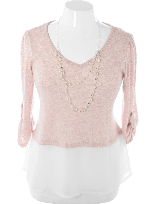 Plus Size Layered Knit Jewelry Tan Top