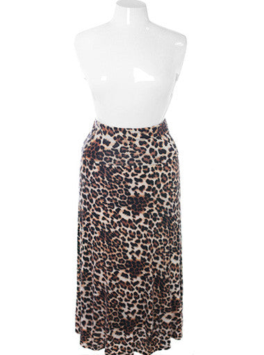 Plus Size Sexy Leopard Maxi Skirt