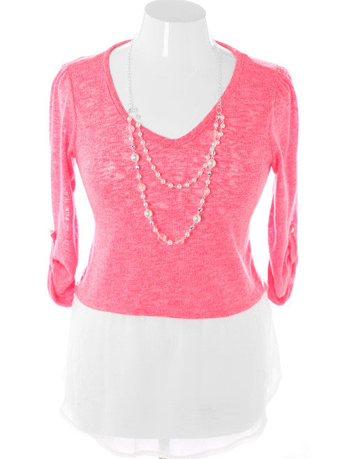 Plus Size Layered Knit Jewelry Pink Top