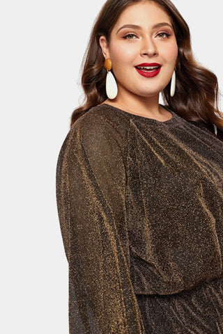 Plus Size Glitter Shine Bright Glitter Cocktail Dress