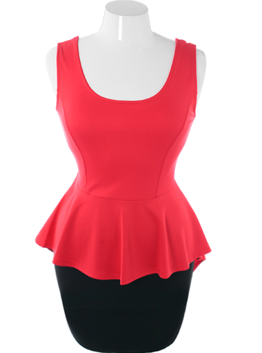 Plus Size Sexy Stylish Peplum Red Dress
