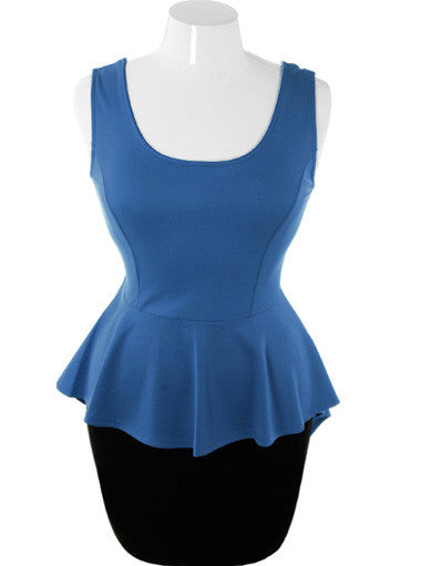 Plus Size Sexy Stylish Peplum Blue Dress