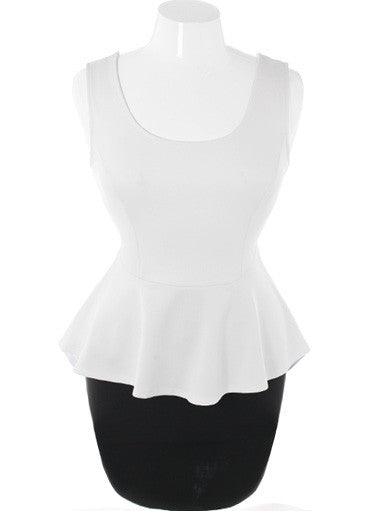 Plus Size Sexy Stylish Peplum White Dress