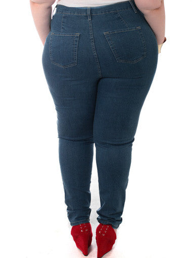 Plus Size Trendy High Waist Stretchy Navy Jeans