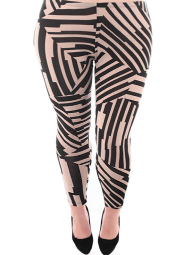 Plus Size Stylish Abstract Tan Leggings