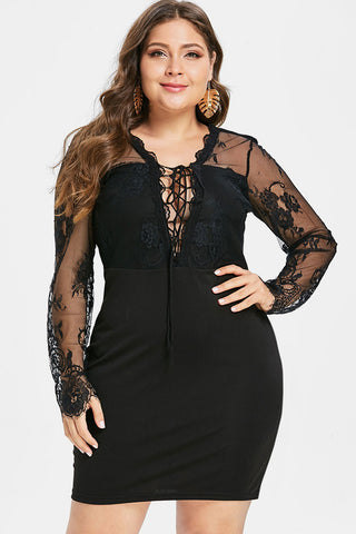Plus Size See Through Lace Up Backless Dress