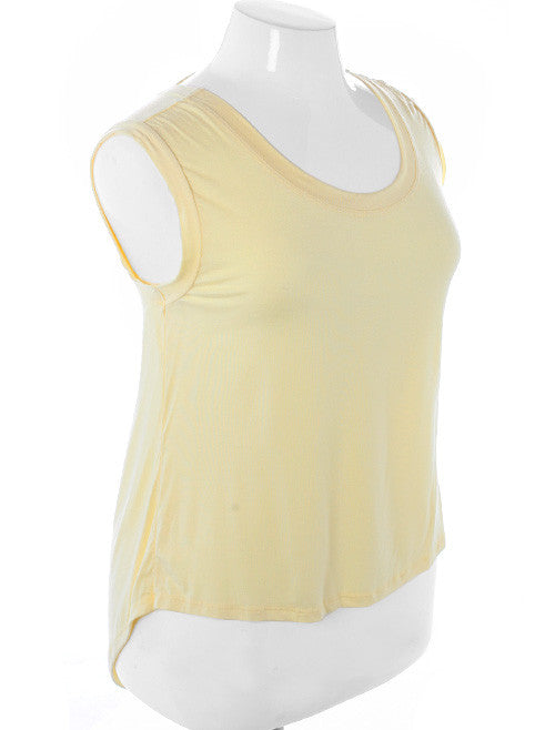 Plus Size Sexy Open Back Loose Yellow Top