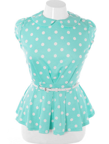 Plus Size Cap Sleeve Polka Dot Belted Mint Top