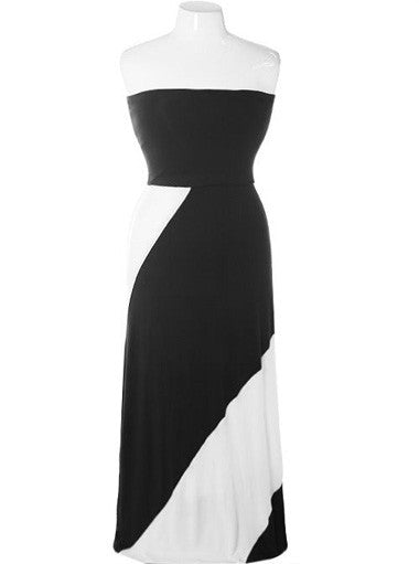 Plus Size Sexy Colorblock Black White Dress