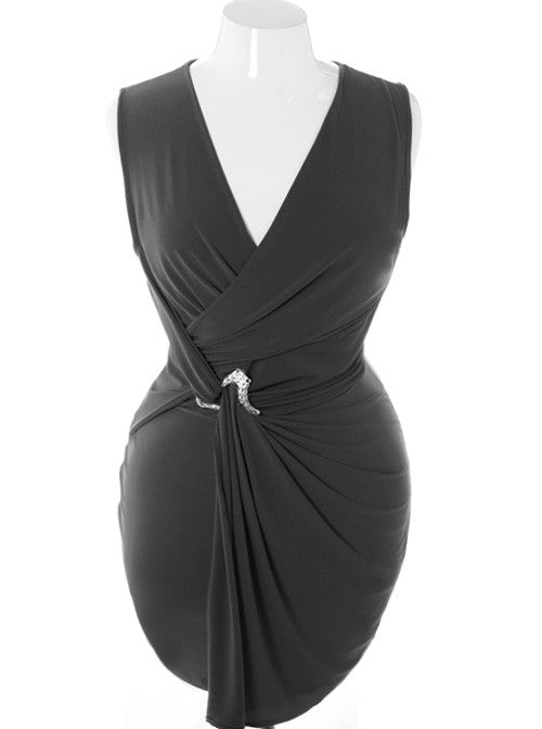Plus Size Designer Sleeveless Pin Wrap Black Dress