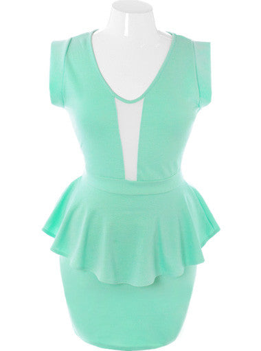 Plus Size Sweetheart Sexy Peplum Mint Dress