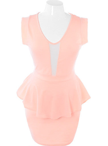 Plus Size Sweetheart Sexy Peplum Pink Dress