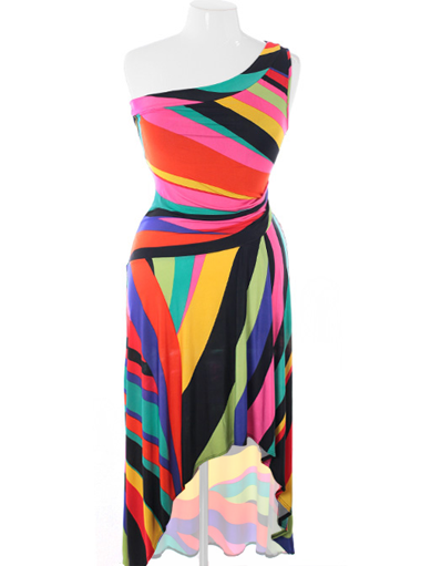 Plus Size Colorful Sexy Shoulder Dip Hem Dress