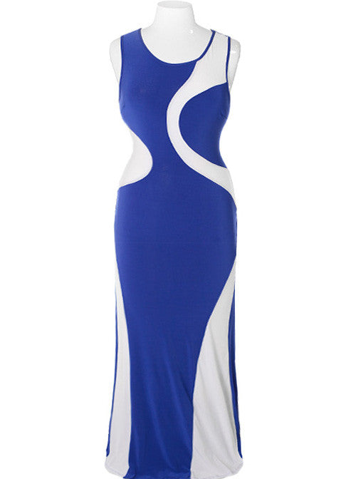 Plus Size Sexy Swirl Blue Maxi Dress