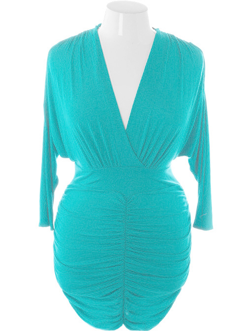 Plus Size Sexy V Hugging Cocktail Teal Dress