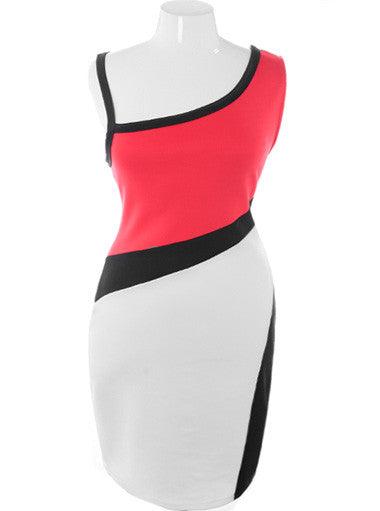 Plus Size Colorblock One Shoulder Red Dress