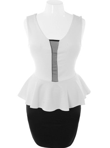 Plus Size Sexy Scuba Mesh Peplum White Dress
