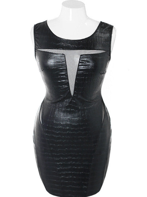 Plus Size Alligator Skin Peep Through Black Dress