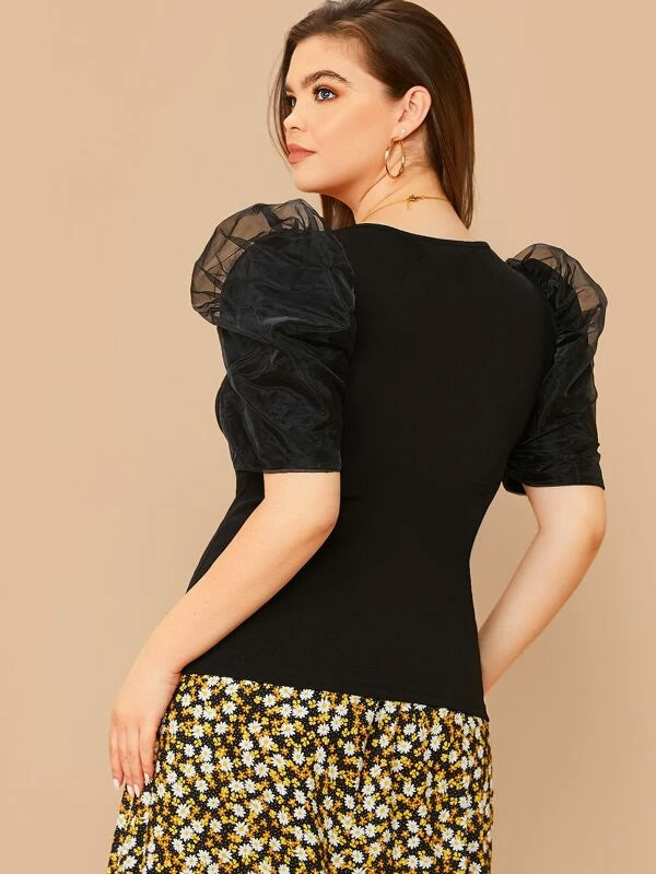 Plus Size V-Neck Organza Puff Sleeve Top