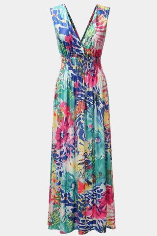 Plus Size Wild Print Colorful Sleeveless Maxi Dress