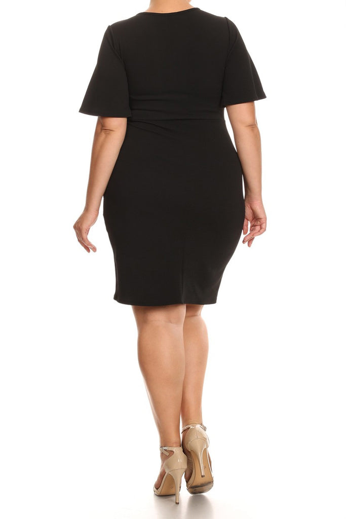Cocktail Short Bell Sleeves Plus Size Dress