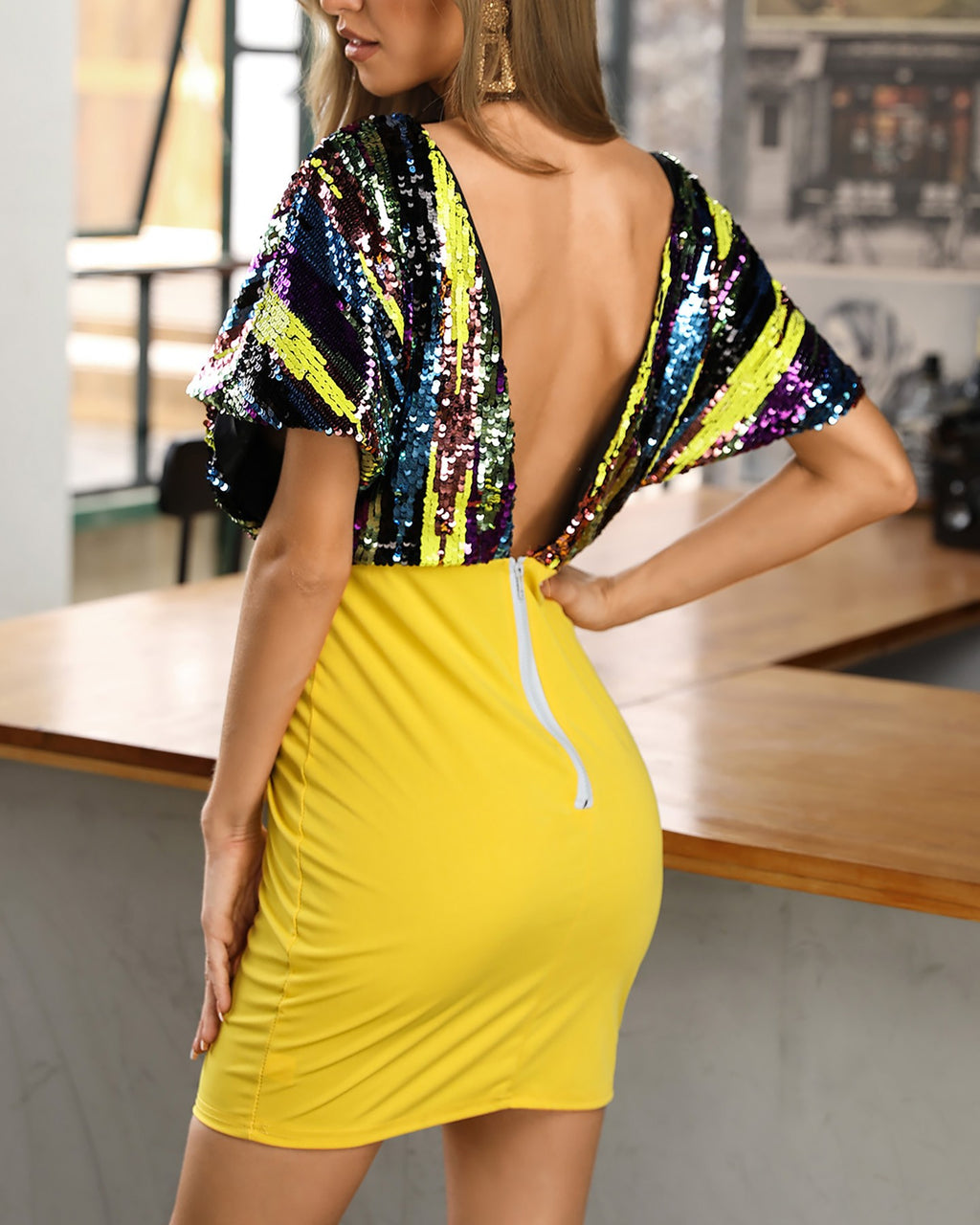 Plus Size Deep V Neck Sequin Bodycon Dress