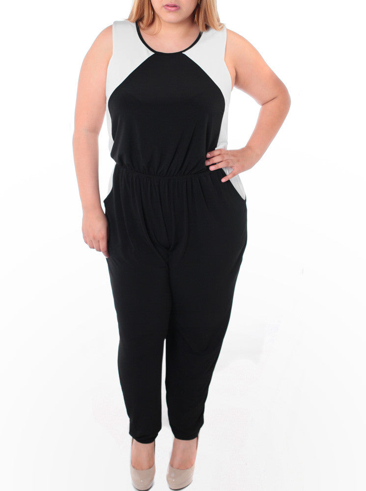 f2a171fb426 Plus SIze Colorblock Black Jumpsuit – Plussizefix