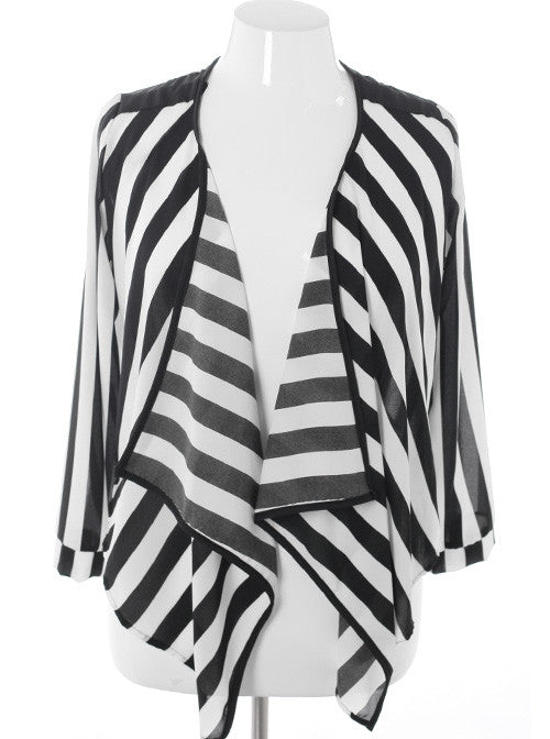 Plus Size Sexy Sheer Stripe Black Cardigan