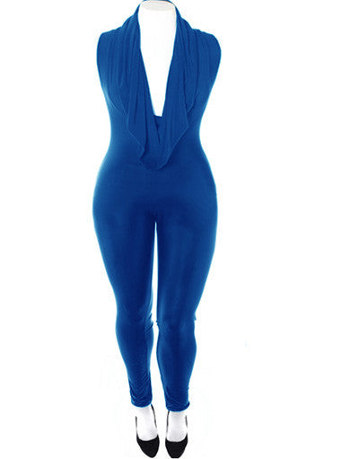 Plus Size Sexy Cowl Neck Blue Jumpsuit