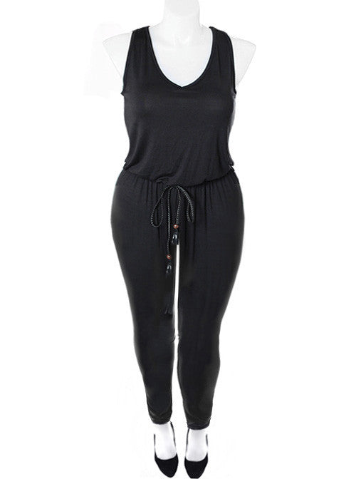 Plus Size Sexy Black Belted Jumpsuit