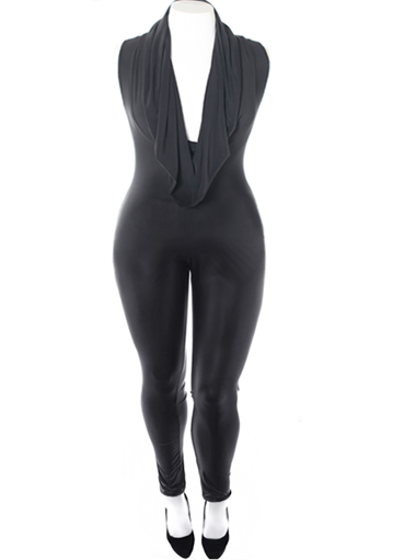 Plus Size Sexy Cowl Neck Black Jumpsuit
