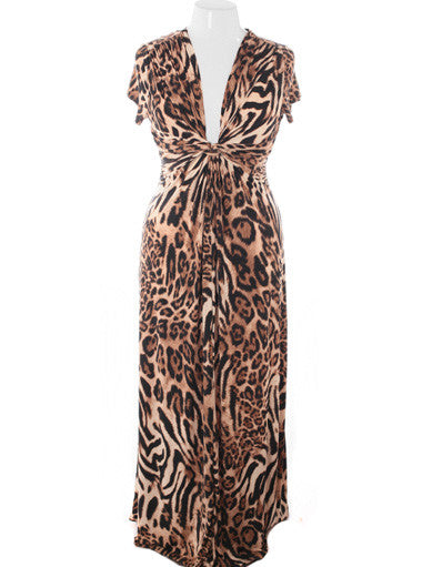 Plus Size Designer Floor Length Leopard Maxi Dress