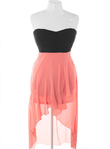 Plus Size Adorable Sheer Skirt Dip Hem Pink Dress