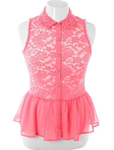 Plus Size See Through Lace Peplum Pink Button Up
